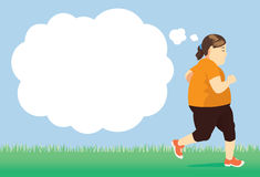 Lose weight with try jogging in park. Fat woman lose weight with try jogging in park Royalty Free Stock Photography