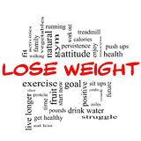 Lose Weight Word Cloud Concept in red & black stock illustration