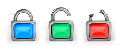 Сlosed, opened and hacked locks Royalty Free Stock Images