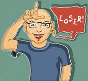 Loser. A man is showing loser hand gesture - cartoon illustration Royalty Free Stock Photo