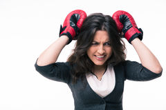 Loser businesswoman with boxing gloves Royalty Free Stock Image