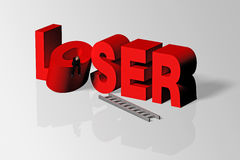 Loser Concept Illustrated by Loser Word and Person, 3D Rendering. Loser word and person conveying business concept of loser, 3D rendering Royalty Free Stock Photos