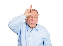 Loser sign, older man Royalty Free Stock Photography