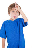Loser sign shown by cute adorable kid Royalty Free Stock Photos