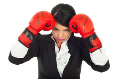 Loser upset business woman Royalty Free Stock Images