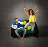 Loser and winner in a football situation Royalty Free Stock Photography