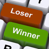 Loser Winner Keys Shows Risk And Chance Royalty Free Stock Photos