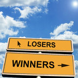 Losers Winners. Losers and winners road sign stock photo