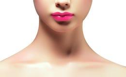 Loseup сняло совершенных губ Лоск губы Сексуальный рот ` s женщины Стоковые Изображения RF