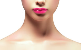 Loseup shot of perfect lips. Lip gloss. woman`s mouth. Smiling young girl. Natural plump full lips with bright pink lip makeup. Lips augmentation royalty free stock images