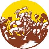 Losi Defeating God Circle Woodcut Stock Image