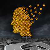 Losing Guidance. Brain disease with memory loss due to Dementia and Alzheimer's illness as a medical icon with a group of road signs shaped as a human head and Stock Image