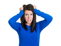 Losing mind, pulling hair woman Royalty Free Stock Photography