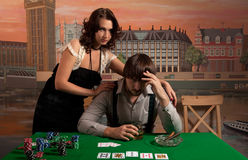 Losing at poker. Stock Photos