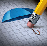 Losing Protection. Business concept and health care security loss with an image of a blue umbrella being erased by a yellow pencil eraser as a symbol of Royalty Free Stock Photos