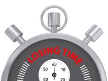 Losing time stopwatch. Illustration of a stopwatch with the words losing time on a white background Royalty Free Stock Images