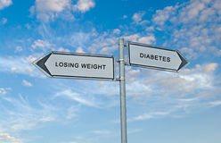 Losing  weight and diabetes. Road sign to losing  weight and diabetes Stock Photos