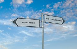 Losing weight and high cholesterol. Road sign to losing weight and high cholesterol Royalty Free Stock Photos