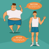 Before and after losing weight illustration. Overweight and normal cartoon characters. Image for sport, diet, health, fat lose and. Other articles. Vector 10 Royalty Free Stock Photography