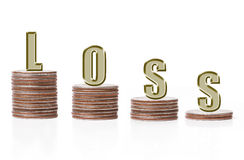 Loss. Word arranged on descending piles of american quarter coins over white background Royalty Free Stock Image