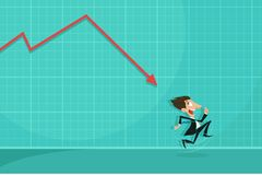 Loss arrow hitting Businessman. Easy to edit vector illustration of loss arrow hitting businessman showing financial crisis Royalty Free Stock Images