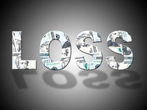 Loss Dollars Shows United States And American Stock Image