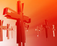 Loss of faith religion. Illustrated by broken  christian church crosses Royalty Free Stock Photography