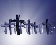 Loss of faith religion. Illustrated by broken  christian church crosses Stock Photos