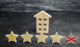 The loss of the fifth star of the restaurant or hotel. The fall in rating and recognition. Deterioration in service quality. Restaurant hotel overview. Bad stock image