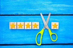 Loss of the fifth star. Unsuccessful business. Overview of hotel, cafe. deterioration of the rating and quality and status. a fals. E assessment.The critic royalty free stock images