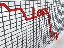 Loss graph. Side view of three dimensional graph Stock Image