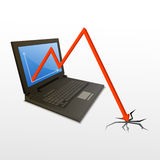 Loss graph from computer. Illustration of loss graph in computer on white background Stock Photography