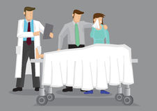 Loss and Grief in Hospital Setting. Doctor with a couple weeping over a dead body covered in white sheet on wheeled bed. Vector cartoon illustration on death and vector illustration