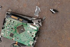 Broken hard disk of the computer. Loss of information broken hard disk of the computer Royalty Free Stock Photography