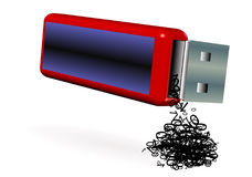 Loss of information. Illustration of a pendrive losing information Stock Photo