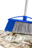 Loss of the money. Dollar sweeper isolated on white , selective focus Stock Photos
