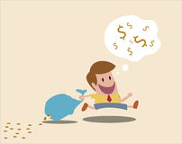 Loss money because of careless. Vector cartoon of Man loss money because of careless Royalty Free Stock Photo