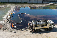 Loss of oil from oil facility. In Genoa, Italy Stock Image