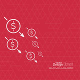Loss of points Currency. The graph shows the fall and profits decline. Loss of points Currency. Falling through asset outflows. Red background. dollar symbol Royalty Free Stock Photos