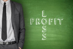 Loss & profit on blackboard Stock Photos