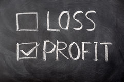 Loss and profit check boxes Stock Photos