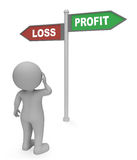 Loss Profit Sign Shows Investment Earn And Success 3d Rendering Stock Photo