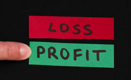 Loss and profit text conception. Loss and profit text over red and green paper Stock Photography