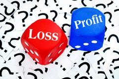 Loss or Profit word. On question mark background Royalty Free Stock Images