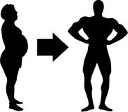 Loss of weight - from fat to muscle. Vector royalty free illustration