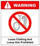 Losse kleding en lang haar belemmerd teken Verrichting met nacklace, band of lang haar verboden pictogrammen Vectorillustratieiso Royalty-vrije Stock Afbeelding
