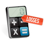 Losses and modern calculator Royalty Free Stock Images