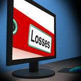 Losses On Monitor Shows Financial Crisis Stock Photo