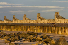 Lossiemouth, east beach breakwater. Royalty Free Stock Images