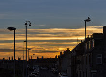 Lossiemouth Shore Street sunset. Royalty Free Stock Images
